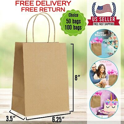 6.25 X 3.5 X 8 Brown Kraft Paper Gift Bags Bulk With Handles