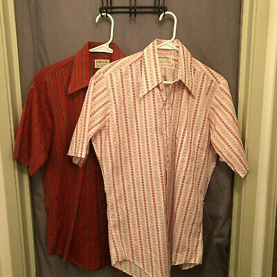 1970s Mens Shirt Styles – Vintage 70s Shirts for Guys Lot of  Vintage 2 1970s Macphergus Stripped Button Up Shirt Disco Hipster Mens $17.00 AT vintagedancer.com
