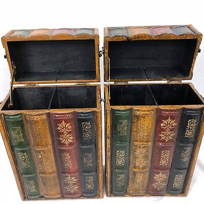 """2 Faux Books Box 2 Compartment Decorative Wood Containers 14"""" Three Hands Corp"""