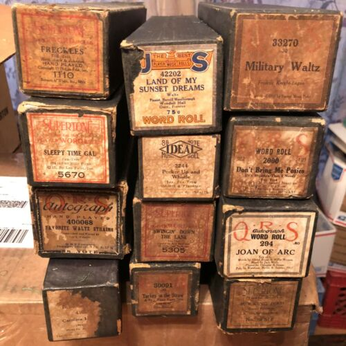 Lot of 12 Player Piano Pianola Rolls !
