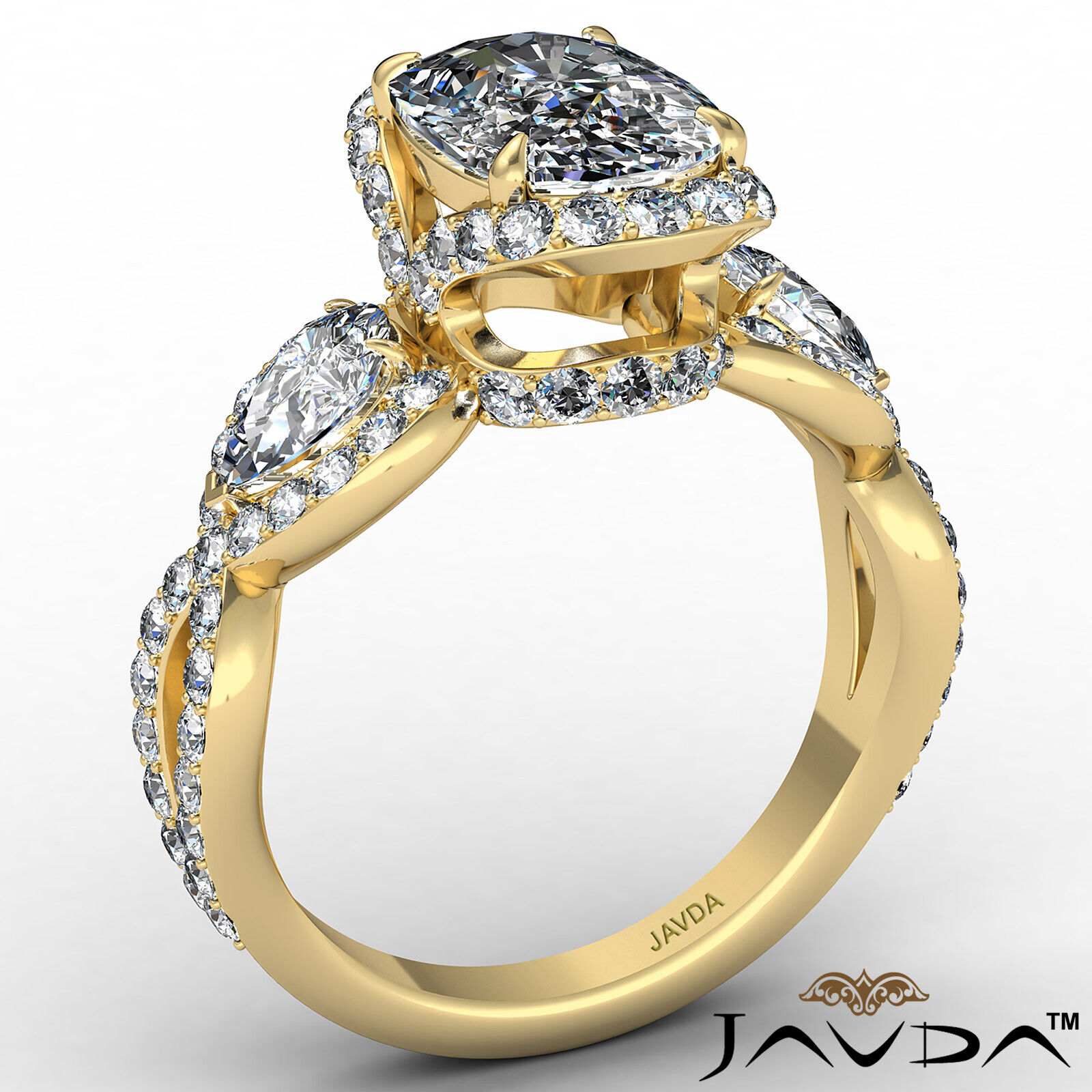 Halo Cushion Diamond Engagement Ring GIA Certified J Color & VS2 clarity 2.4 ctw 4