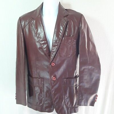 Vintage Brown Leather Jacket Mens men's M 38 Hipster Club , used for sale  Shipping to India