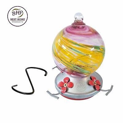 Hummingbird Feeder Blown Glass Yard Garden Patio New Design Summertime Swirl