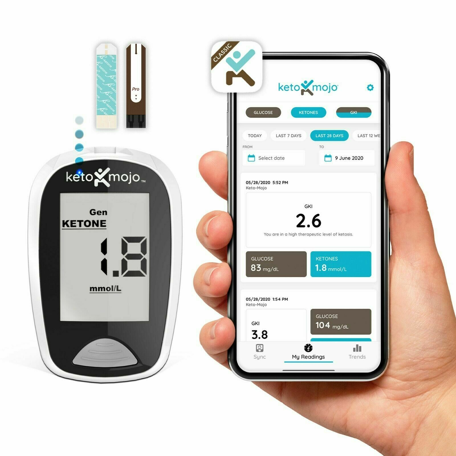 Bluetooth Ketone & Glucose Meter - Basic Starter Kit- Offici