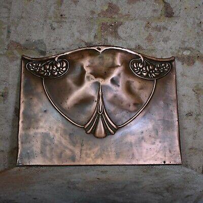 Antique 1900s Art Nouveau Copper Fire Front Decorative Panel Curved Design ()