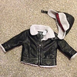 guess leather jacket w/ cap