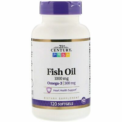 21st Century Fish Oil 1000 mg Omega-3 300 mg 120 Softgels Healthy Heart Support 21st Century Healthy