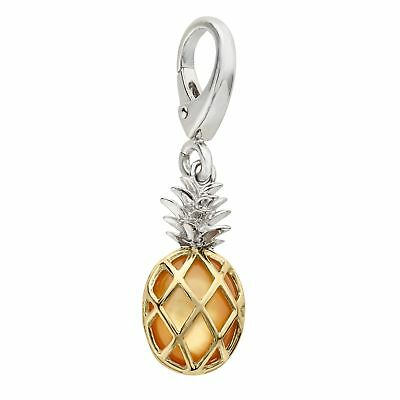 Natural Mother-of-Pearl Pineapple Charm in Sterling Silver and 14K Gold