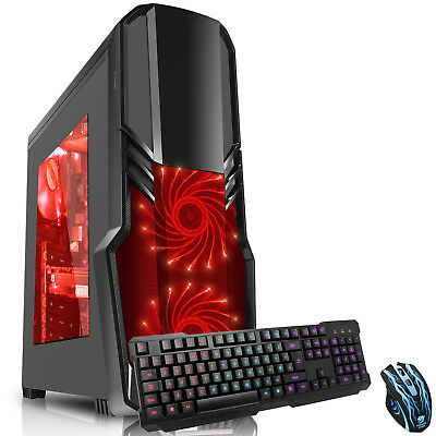 Computer Games - Ultra Fast Quad Core 8GB 1TB Desktop Gaming PC Computer 4.2GHz AMD HD K&B Red