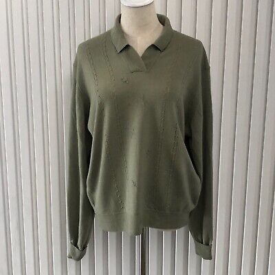 80s Sweatshirts, Sweaters, Vests | Women Vintage Pitlochry of Scotland Sage Green Pure New Wool V-Neck Collar Jumper Sz M $21.52 AT vintagedancer.com
