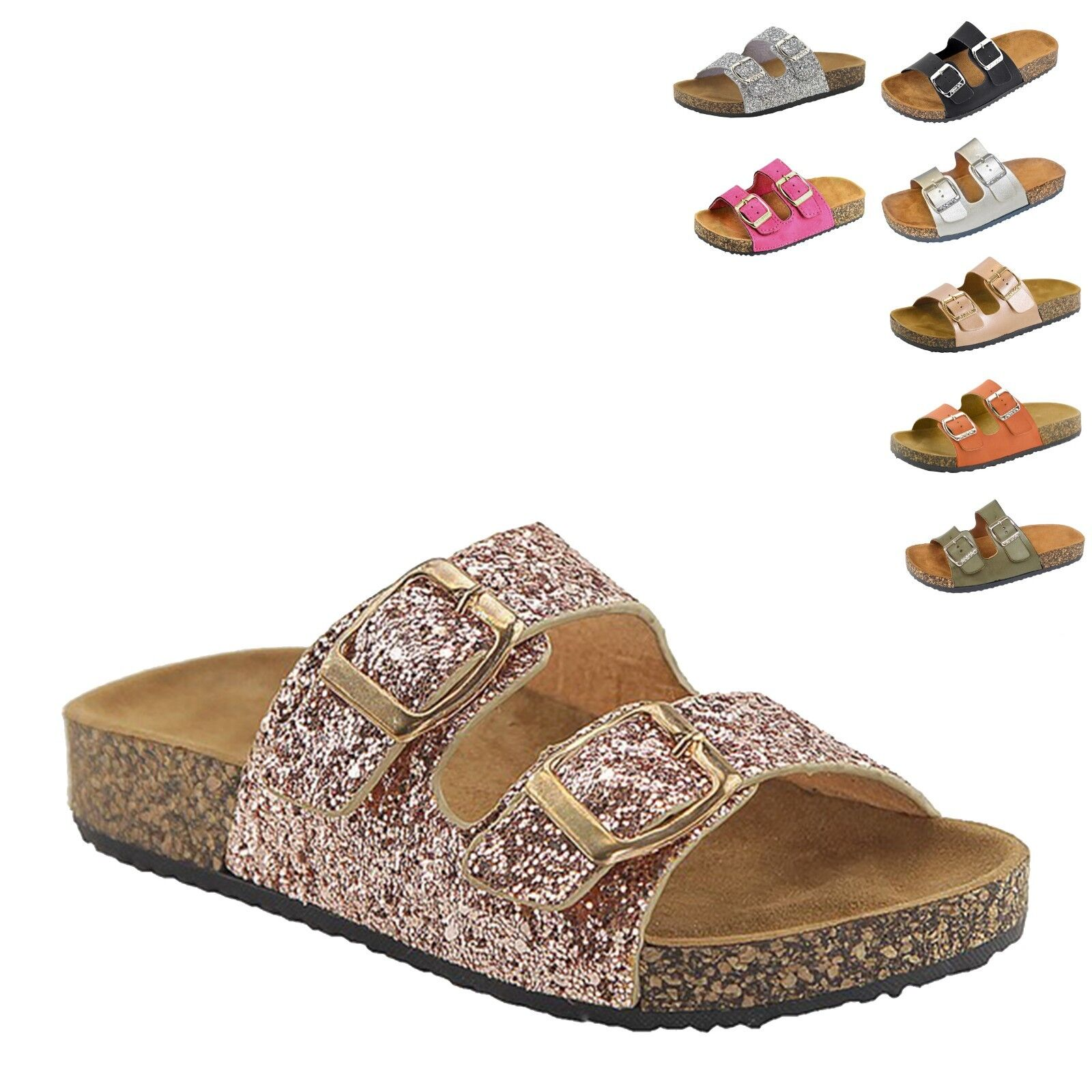 New Women&Kids Glitter Sandals Gladiator Doube Buckle Slide