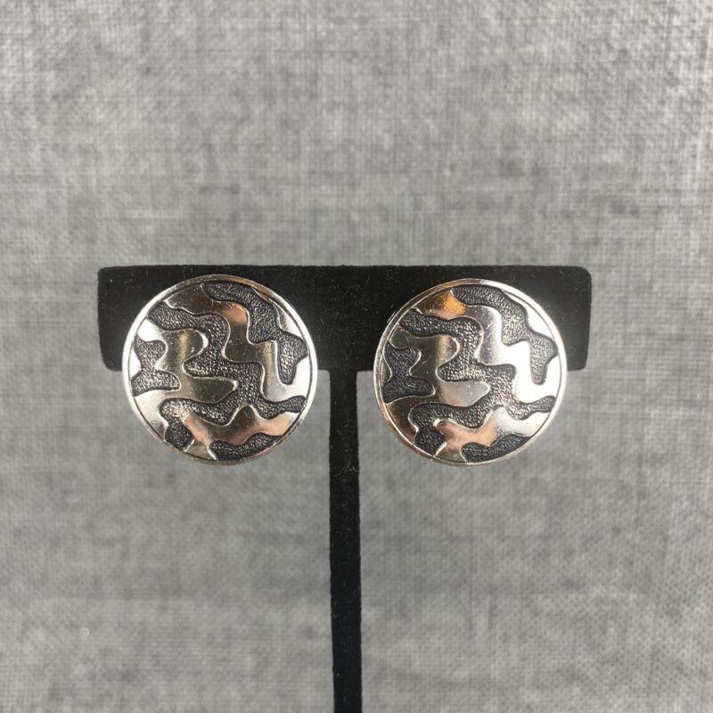 Vintage Silver & Black Patterned Clip On Earrings