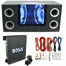 "Pyramid BNPS102 10"" 1000W Dual Car Subwoofers + Box + 1100W Mono Amp + Amp Kit"