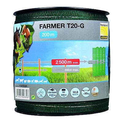 Horizont Banda Larga Farmer 200m 20mm Verde Cordón Valla Eléctrica Cercado