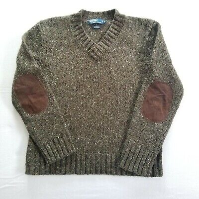Men's Size M, Polo by Ralph Lauren Pullover V-Neck Sweater w Suede Elbow Patches