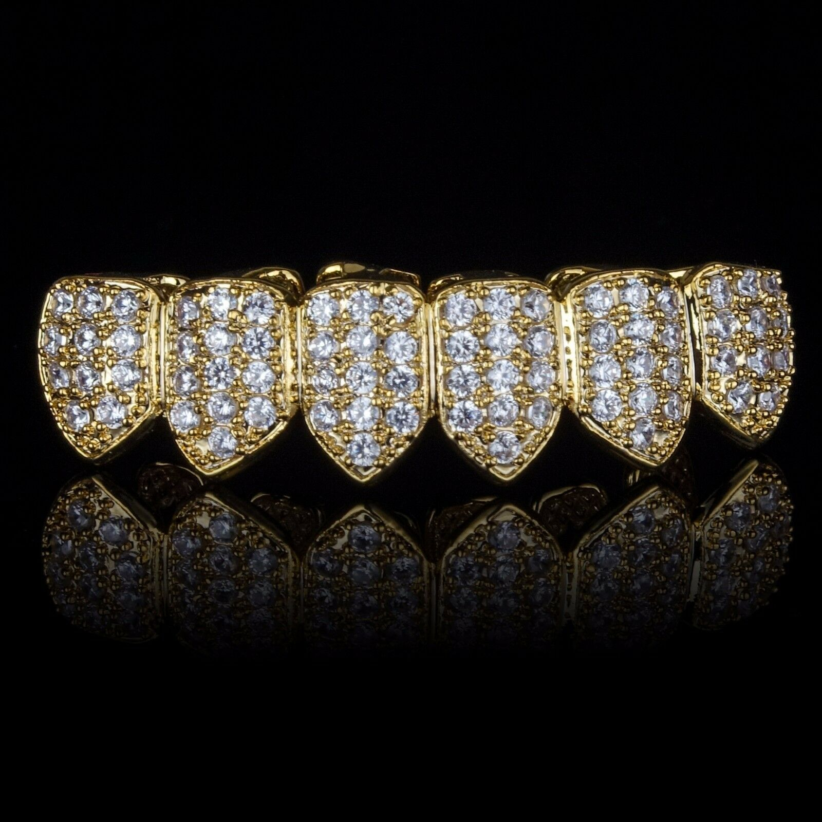 18K Gold Plated High Quality CZ Bottom Row GRILLZ Mouth Teeth Grills
