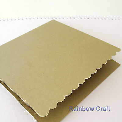 10 blank Cards & Envelopes SQUARE or C6 (9 Colors) - Scallop Wedding Invitation - Sq Olive
