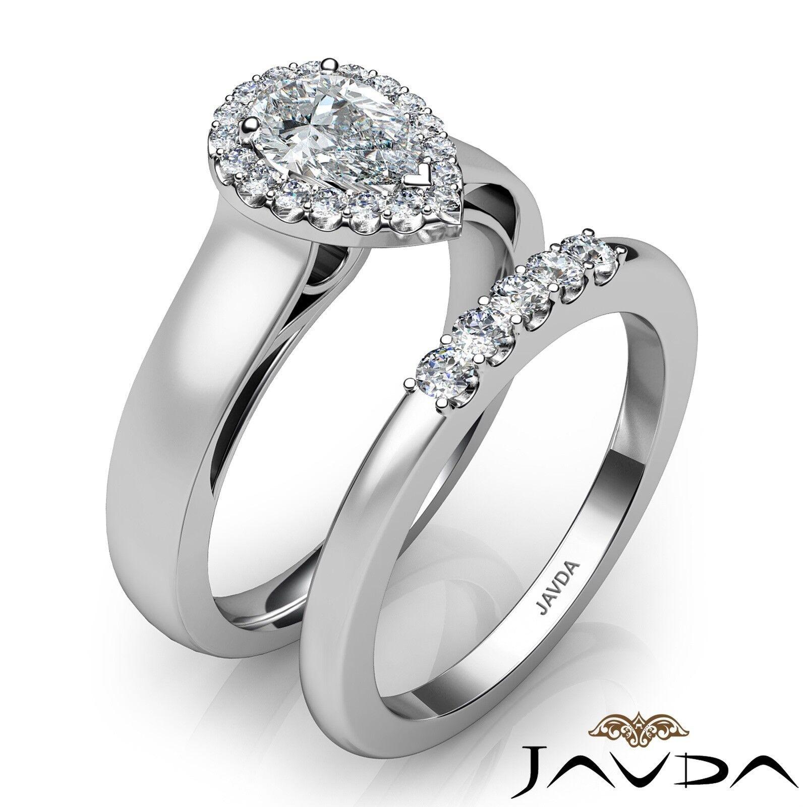 1.33ctw U Cut Pave Set Halo Bridal Pear Diamond Engagement Ring GIA F-VS2 W Gold 2