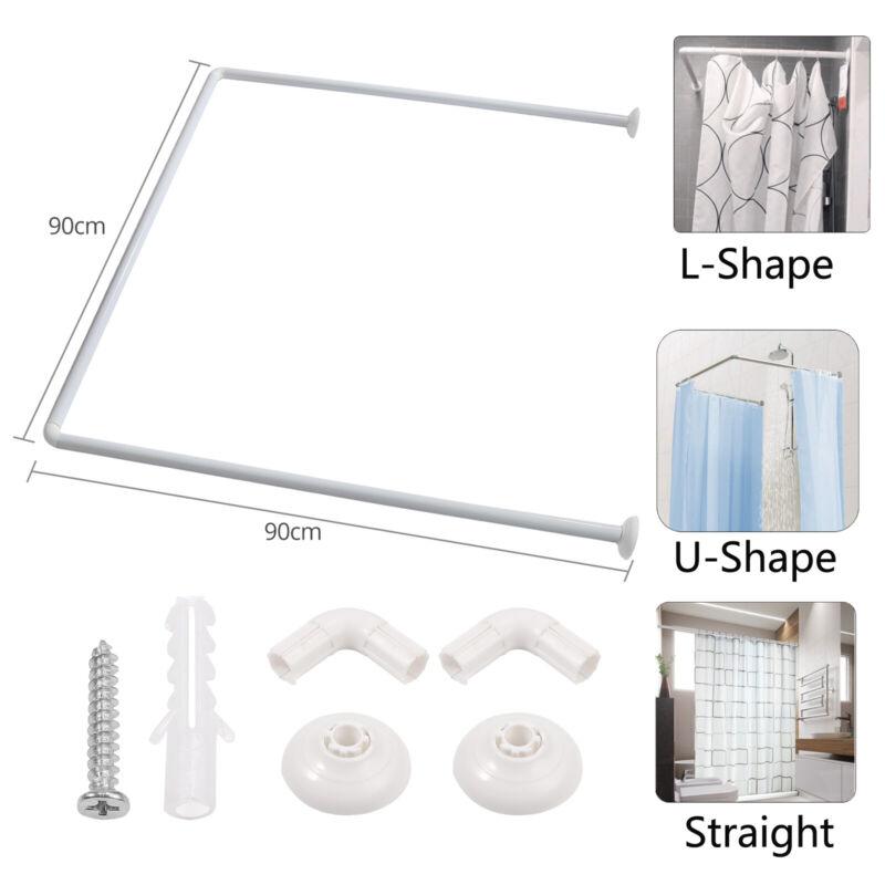Polished Aluminium Shower Curtain Rod Bathtub L-Shape / U-Shape / Straight Rail