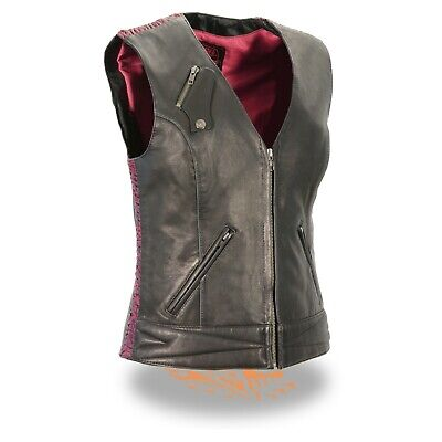 Milwaukee Leather Ladies Lightweight Snap Front Vest w Crinkle Detailing*MLL4571