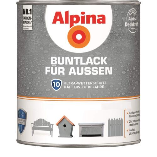 Alpina Buntlack für außen - Seidenmatt 750 ml Holzlack Metalllack FARBWAHL