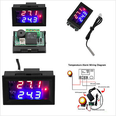 12v Dc Led Digital Microcomputer Thermostat Controller Switch Temperature Sensor