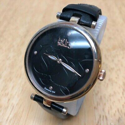 Burgi Lady 4 Genuine Diamonds Rose Gold Tone Analog Quartz Watch Hour~New Batter