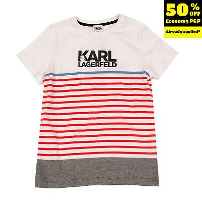 KARL LAGERFELD KIDS T-Shirt Top Size 8Y / 126CM Striped Coated Logo Short Sleeve