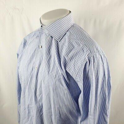 Alessandro Gherardi Neiman Marcus Button Front Shirt Sz 17/43 Blue Check A30-02