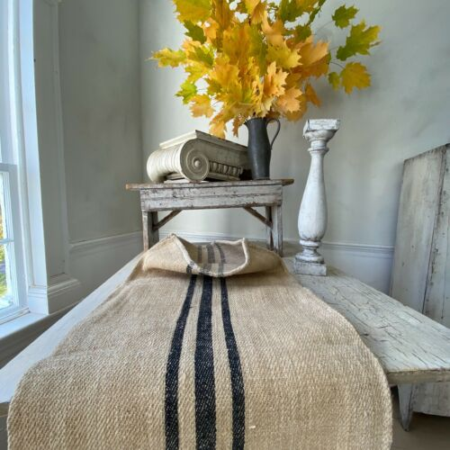 BLACK  grainsack grain sack hand woven linen hemp  textile STIFF