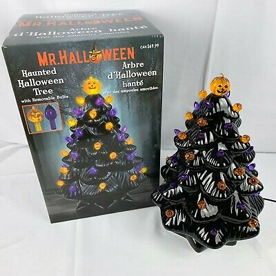 Mr Halloween Ceramic Tree Black Purple Orange 14 Inch Tall LED Light Decor New