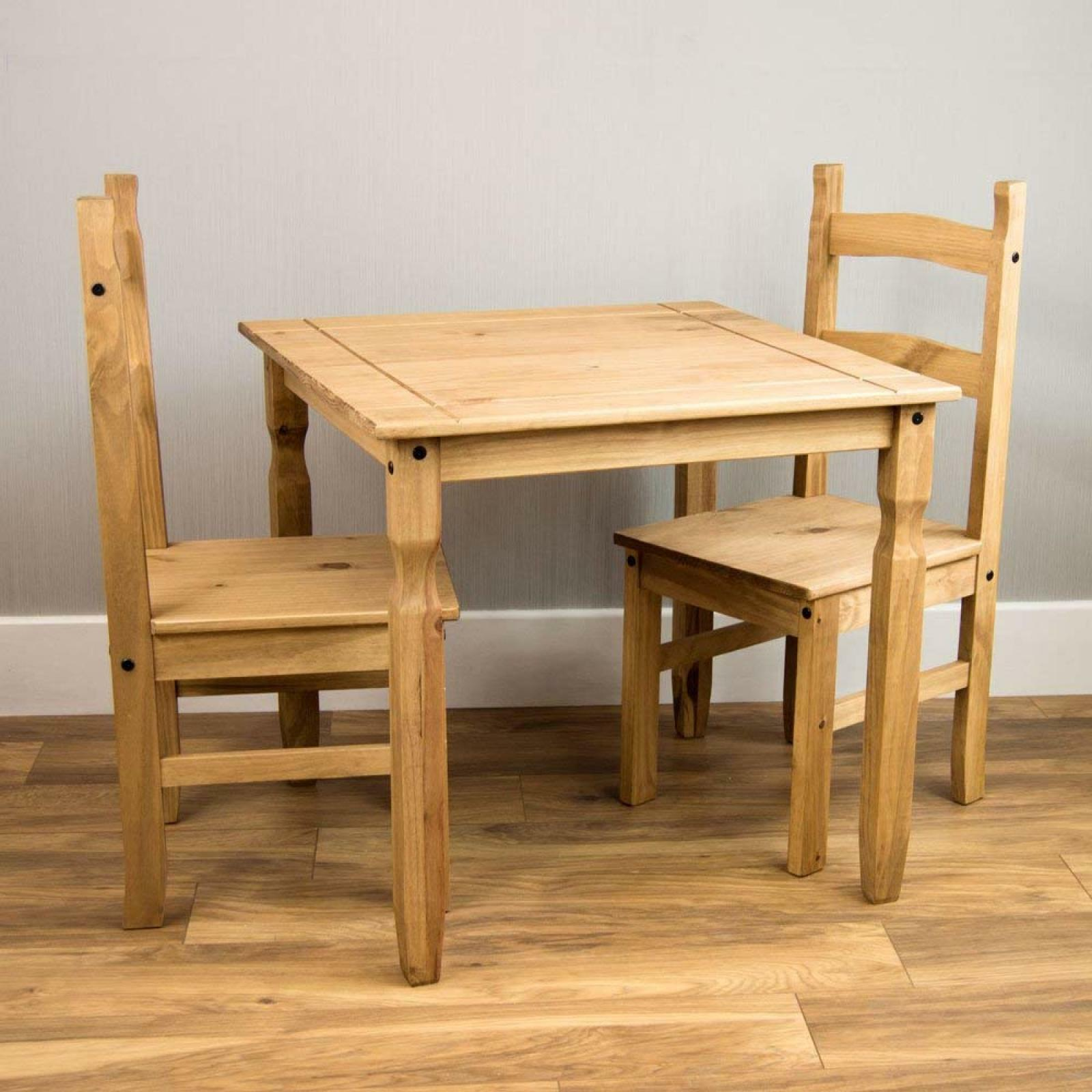Picture of: Dining Table And Chair Set 2 Seater Solid Pine Wood Rustic Wax Finish Bargain 5055998407596 Ebay