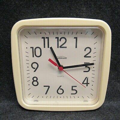 """Vintage Sunbeam 12444 Off-White Square Plastic Kitchen Wall Clock 8-1/2"""" Quartz"""
