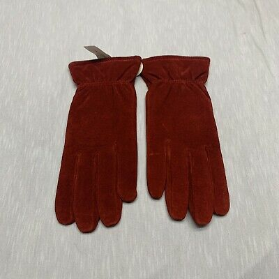 Isotoner Womens Red Stretch Leather Gloves Large New With Tag