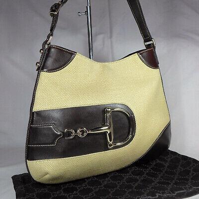 Authentic Vintage Gucci Horsebit Beige Cream Canvas Medium Hobo Shoulder Bag VGC