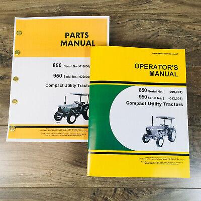 Operator Parts Manual Set For John Deere 850 950 Tractor Owner Catalog Book