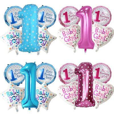 5x Folienballon Set 1. Geburtstag Mädchen Luftballon Zahl Ballon Junge Birthday