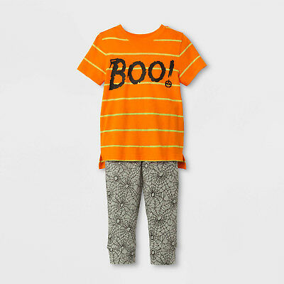 Toddler Boys Halloween BOO Striped Short Sleeve Shirt & Spider Web Pants Set