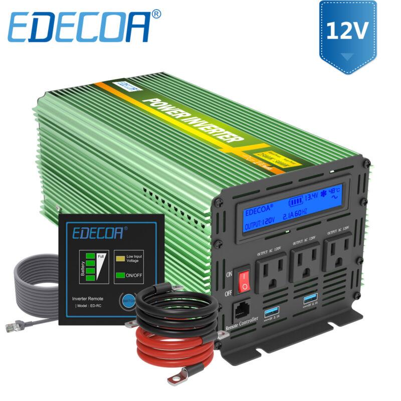 EDECOA 2500W 5000 Watt Power Inverter Pure Sine Wave 12V dc to 120V ac LCD RV