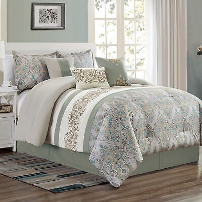 Chezmoi Collection Alberta 7-Piece Medallion Paisley Embroidered Comforter Set