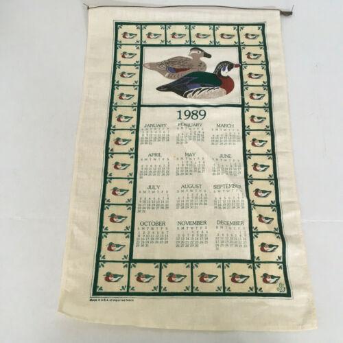 Vintage 1989 cloth wall hanging tea towel calendar duck print country decor