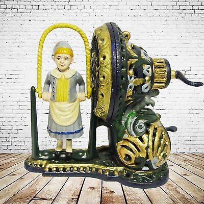 Mechanische Spardose Mädchen Wäschetrommel Weihnachten Geschenk Vintage Deko