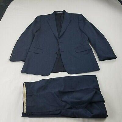 Hickey Freeman Suit Jacket 42 R Pants    36 x 33 2 Piece blue print raw hem