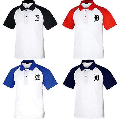 Detroit Tigers Uniform (Detroit Tigers Raglan Polo T-Shirts Baseball Team Collar Tee Jersey Uniform 0102)