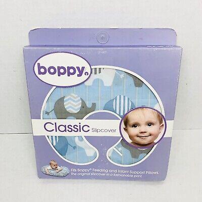 New Original Boppy Pillow Cover Slipcover Classic Elephant Blue Nursing Support