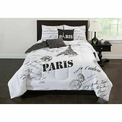 Bedding Comforter Set Paris Jadore FULL Size 5 Piece Bedroom Bed Cover White