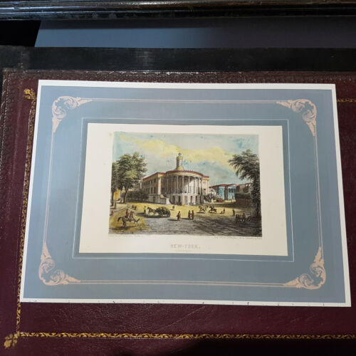 """Handcoloured steel engraving view of """"New York united States 1850"""