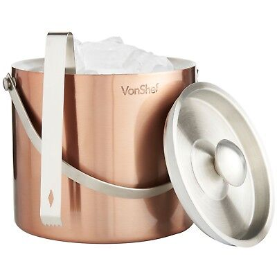 VonShef 3Qt Copper Double Walled Insulated Stainless Steel Ice Bucket with Lid
