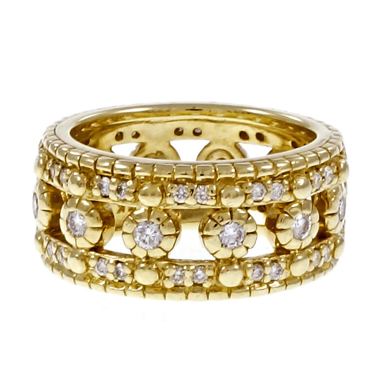 Estate Judith Ripka Eternity Ring Diamond Wedding 18k Yellow Gold