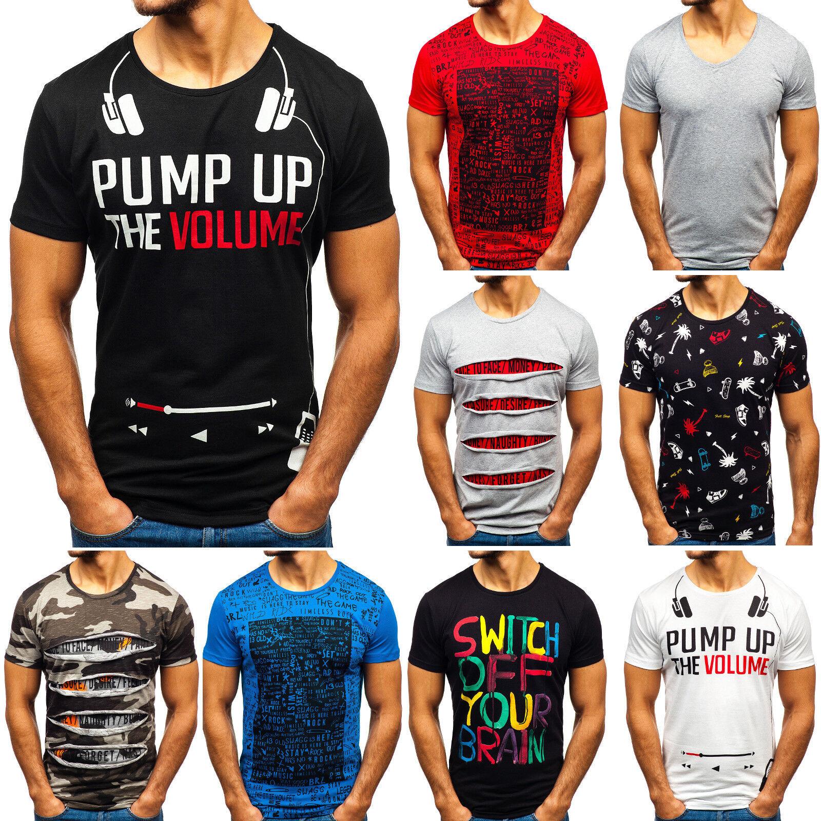 5b01902ff0bedd T-Shirt Tee Kurzarm Rundhals Aufdruck Print Casual Herren Mix BOLF 3C3  Motiv WOW